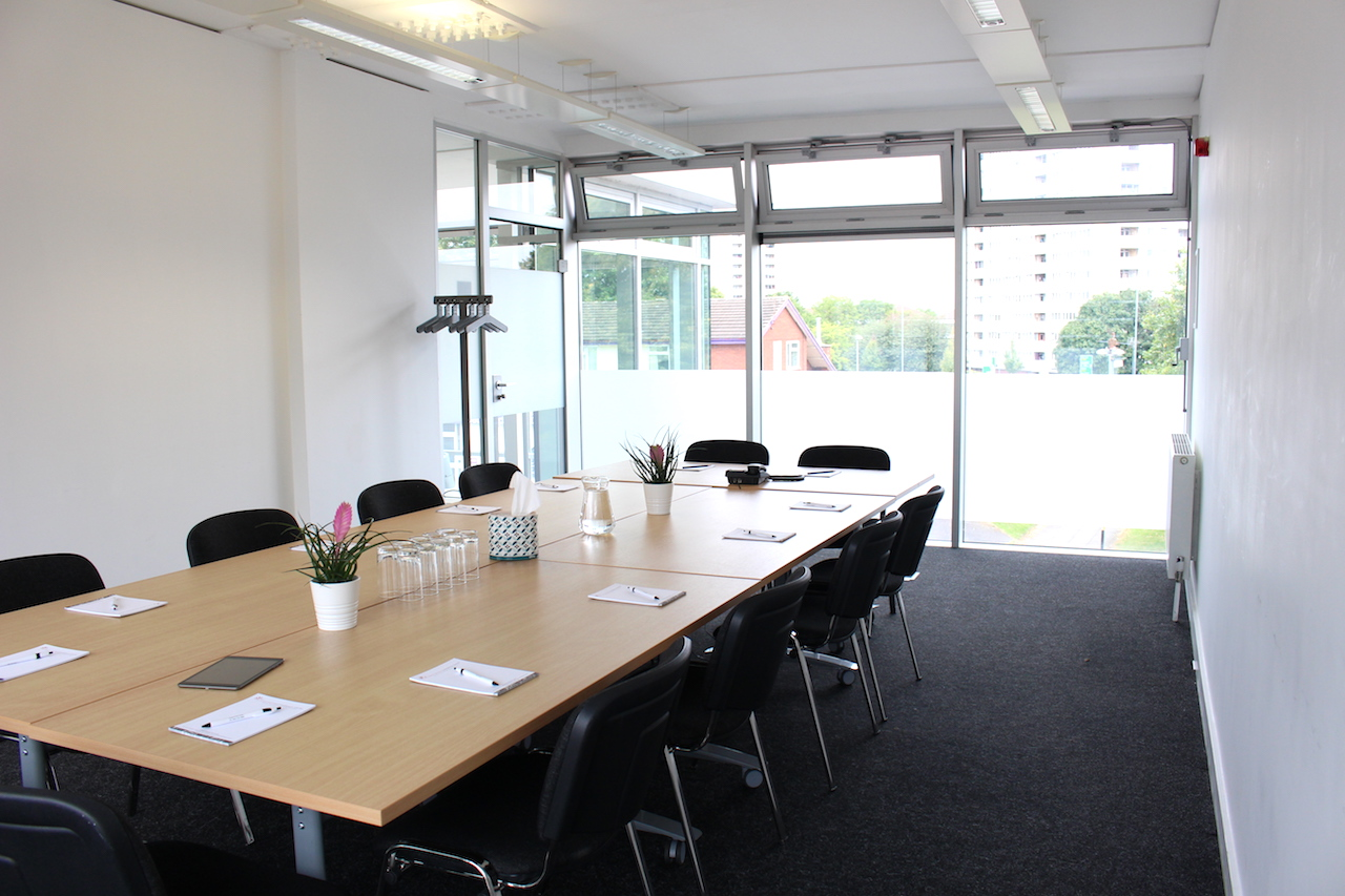 Willow Room in boardroom layout overlooking Ladywood Road
